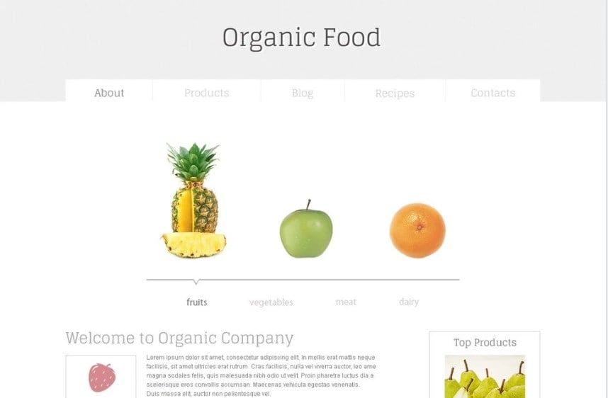 Organic Food Free HTML5 Template Website Template