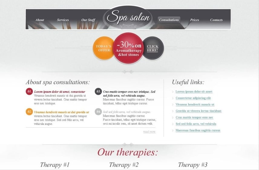 Free HTML Theme for Spa Salon Website Website Template