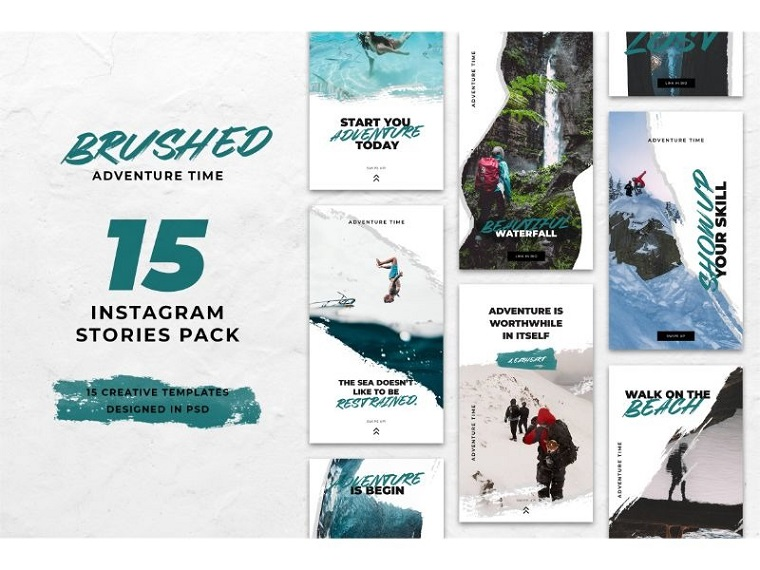 Instagram Stories Brushed Adventure Social Media Template.