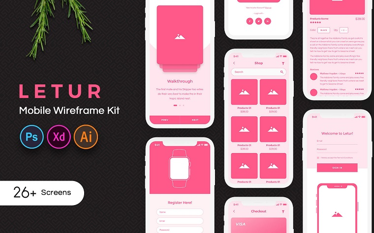 Letur Mobile Wireframe UI Elements.