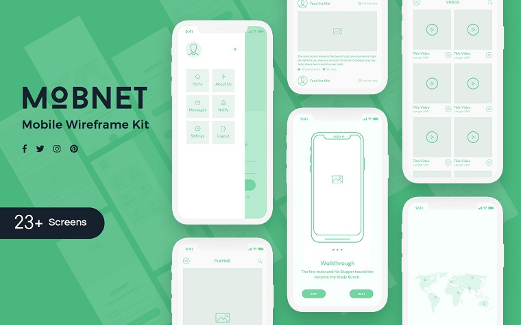 Mobnet Mobile Wireframe Kit UI Elements.