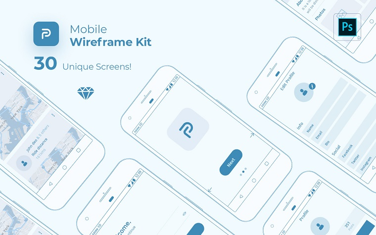 Pride Mobile Wireframe Kit UI Elements.