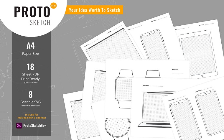 ProtoSketch - Printable Prototype Wireframe Design UI Elements.