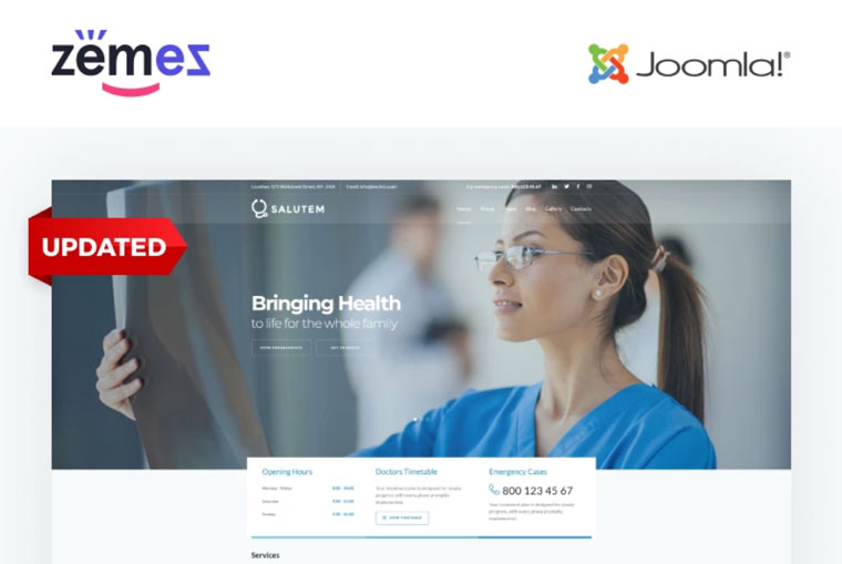 Salutem - Medical and Healthcare Clean Joomla Template.