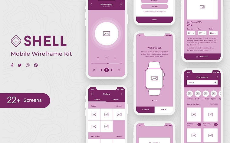 Shell Mobile Wireframe Kit UI Elements.