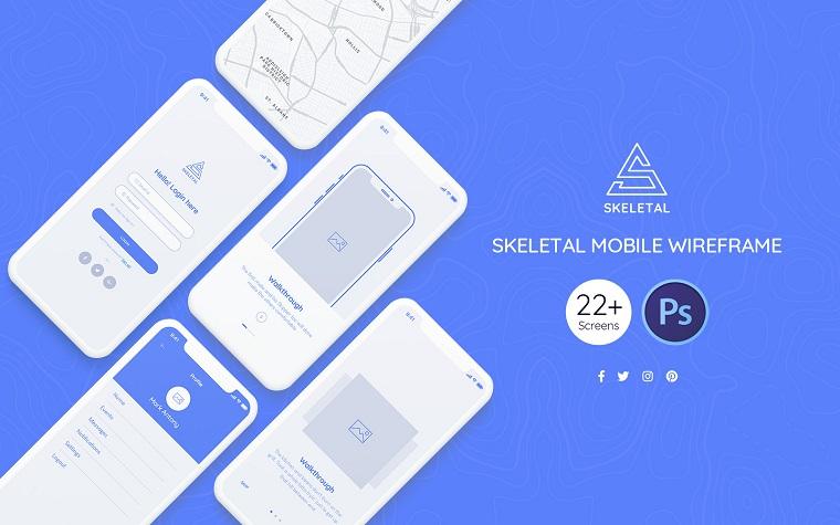 Skeletal Mobile Wireframe UI Elementsю
