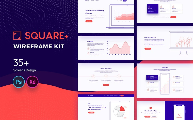 Square+ Web Wireframe UI Elements.