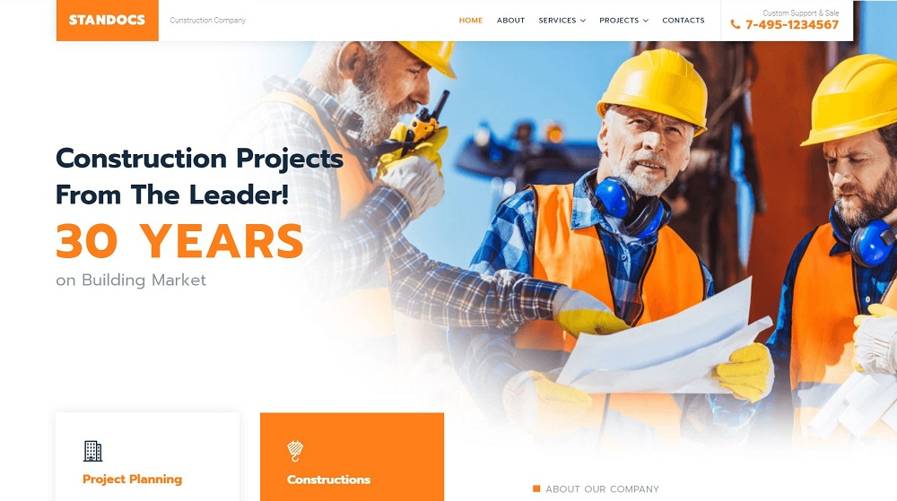 Standocs - Construction Company Elementor WordPress Theme