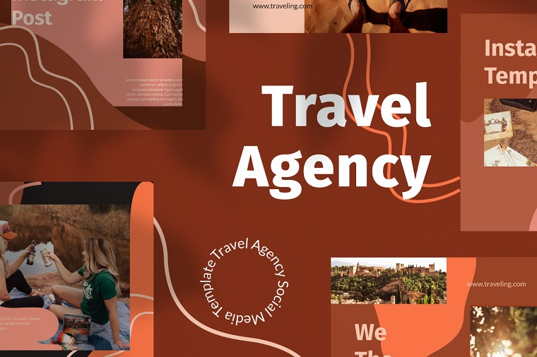 Travel Agency Instagram Template Social Media Template.