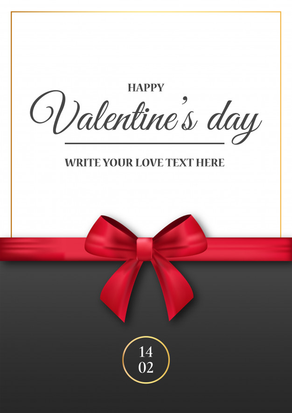 Valentine's Day Freepik invitation-with-realistic-red-ribbon