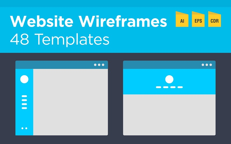 48 Website Wireframes and Flowchart Product Mockup.