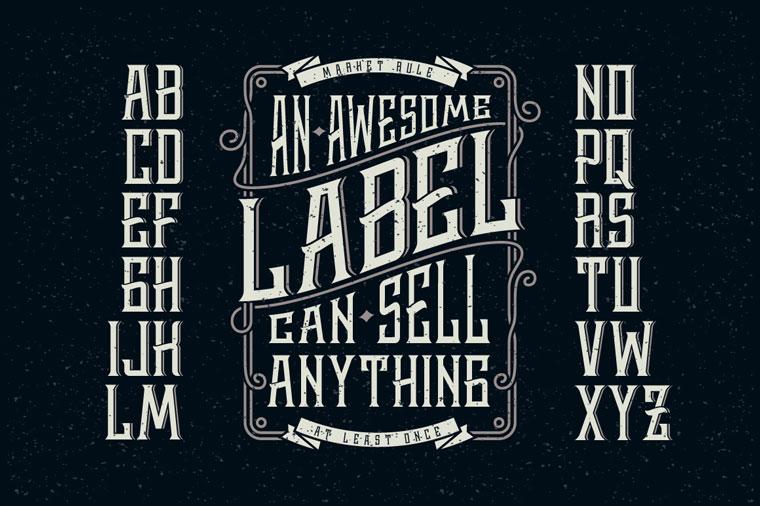 Whiskey Label + Design Elements Font.