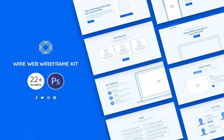 Wire Web Wireframe Kit UI Elements.