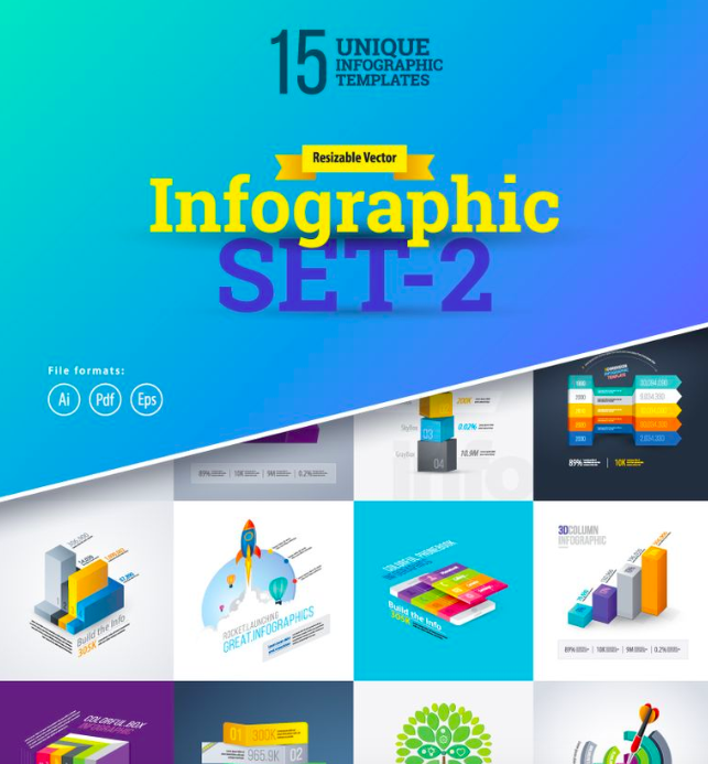 Most Use 3D Set-2 Infographic Elements