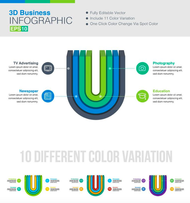 3D Vector Infographic Elements