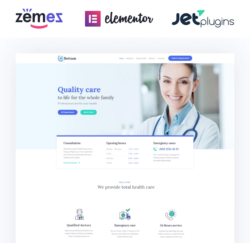 Bettum - Clean Medical Elementor WordPress Theme