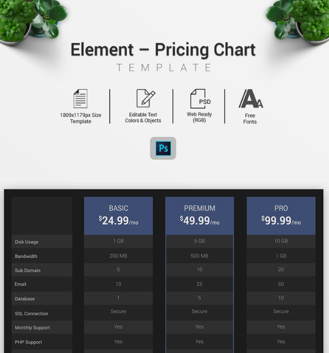 Element - Pricing Chart Infographic Elements