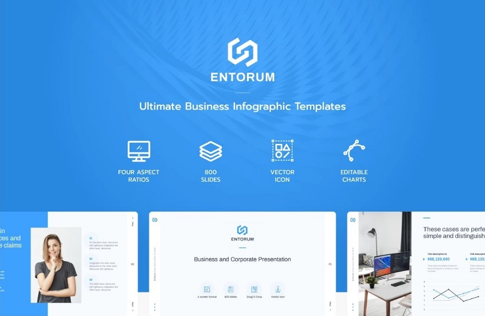 Entorum - Business PowerPoint template with customizable infographics