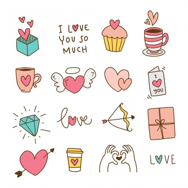 hand drawn valentine elements