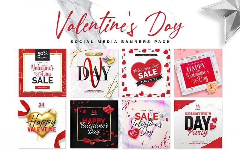 Valentine's Day graphics banner-pack-social-media
