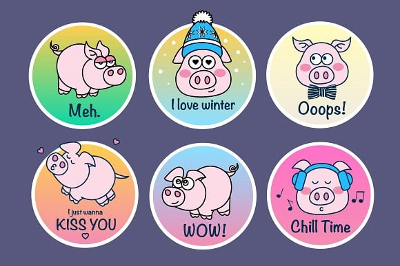 Piggy Badges Illustration