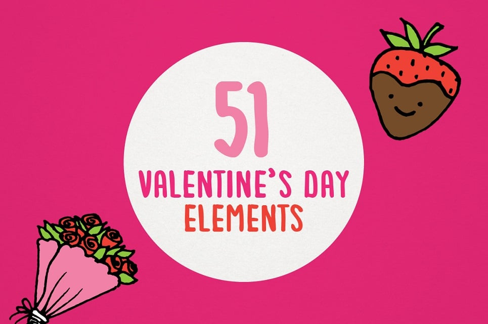 Valentine's Day & Love Hand Sketched Clipart Pack Illustration
