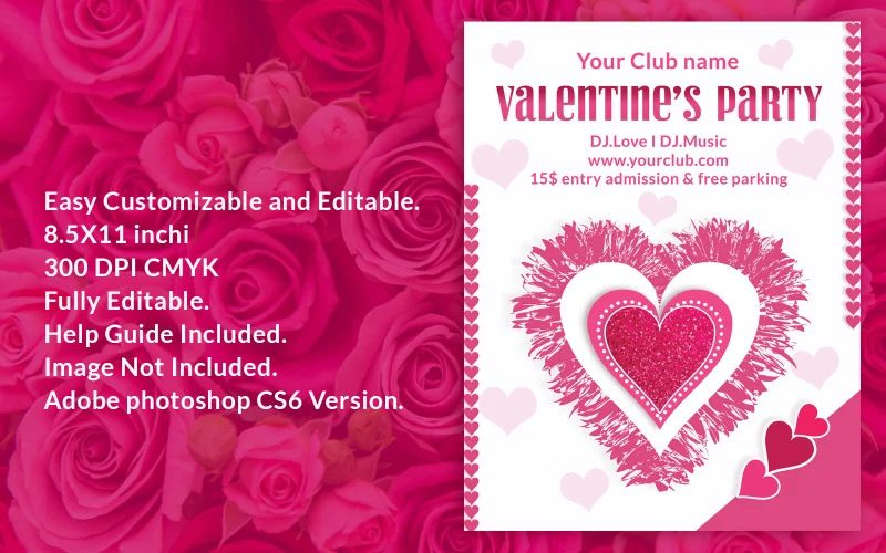 Valentine's Day graphics party-flyer-corporate-identity-template