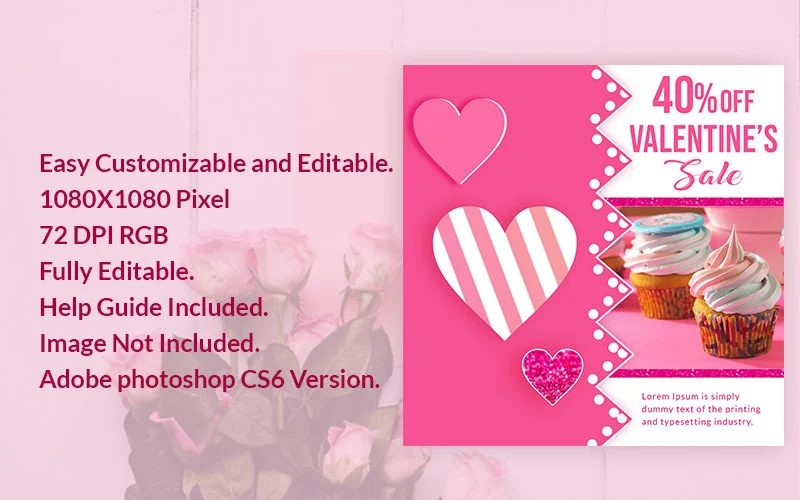 Valentine's Day graphics sale-banner-psd-template