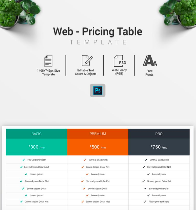 Web - Pricing Table Infographic Elements