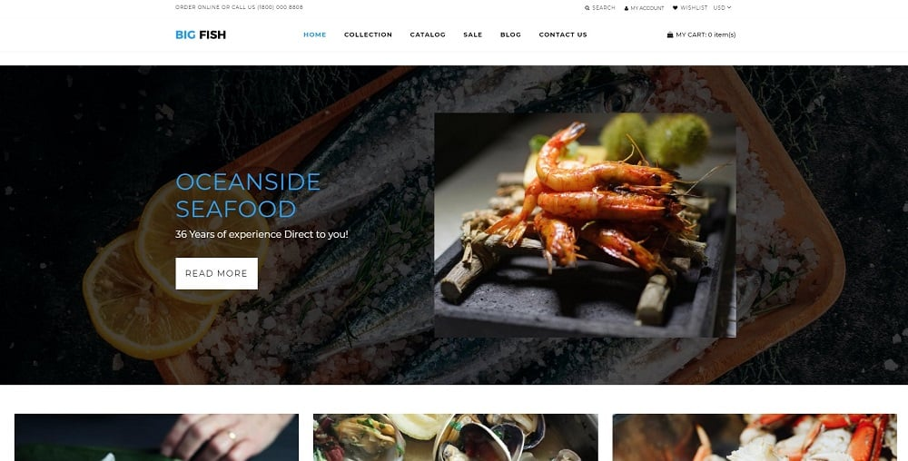 Big Fish - Seafood Restaurant Bright Shopify Theme