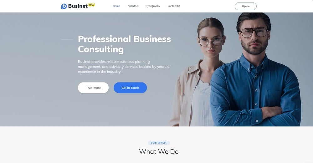 Free HTML5 Theme for Business Site Website Template