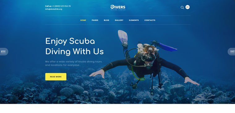 Divers - Swimming Multipage Classic HTML Website Template.