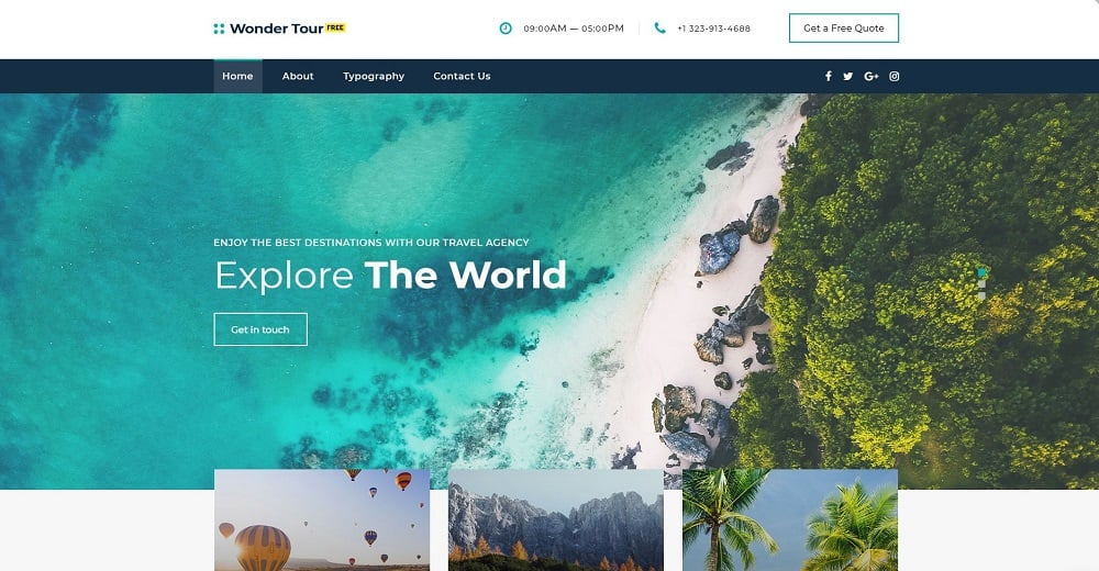 Free jQuery Travel Theme Website Template
