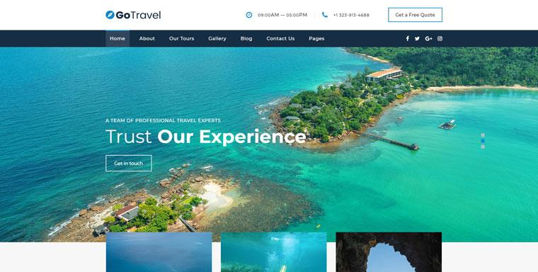 GoTravel - Novi Builder Online Tour Agency Website Template.