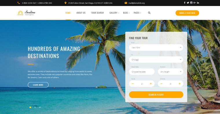 Sealine Travel Agency Multipage HTML Website Template.