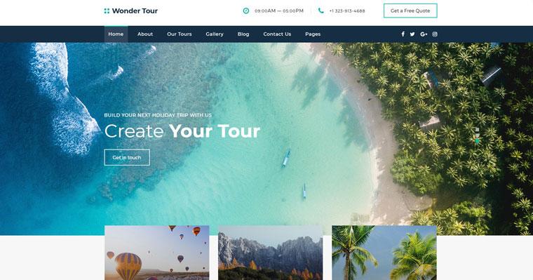 Wonder Tour - Travel Agency Multipage HTML Website Template.