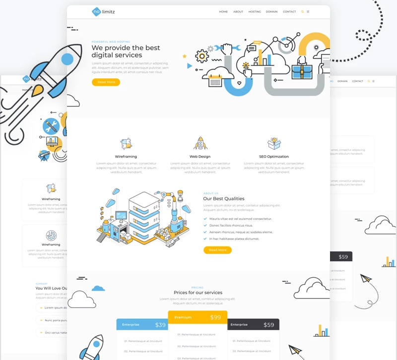 NoLimitz - Hosting Elementor WordPress Theme