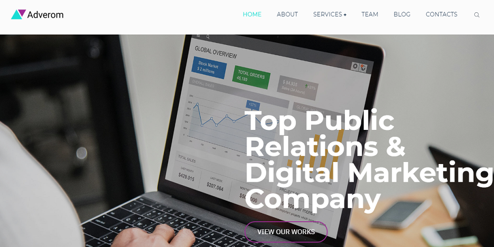 Adverom - PR Company Multipurpose Modern Elementor WordPress Theme