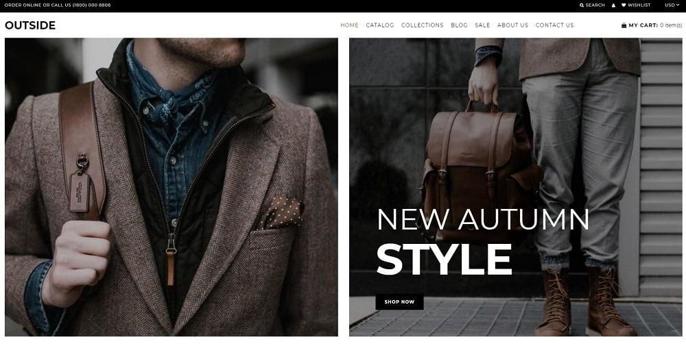 Outside - Men Fashion Store Shopify Theme