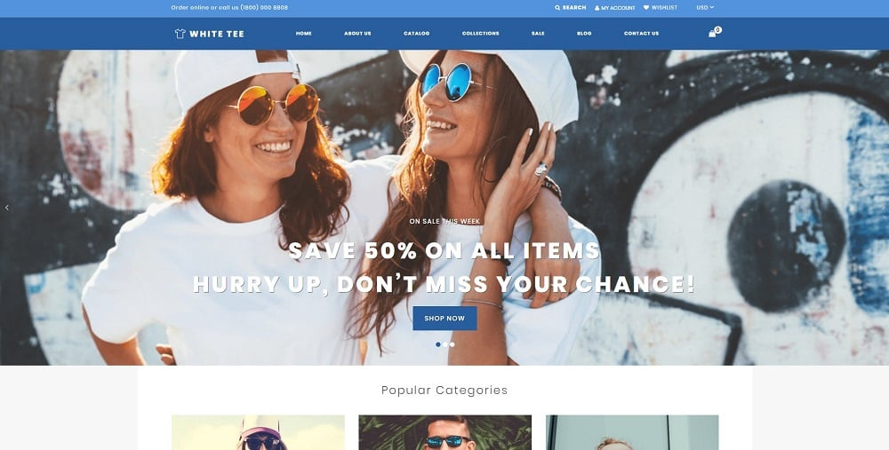 White Tee - Clothing Responsive Practical Shopify Theme