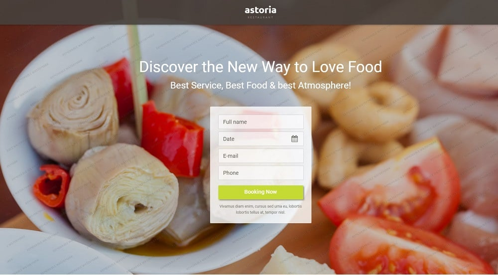 Free Restaurant Landing Page Template Landing Page Template