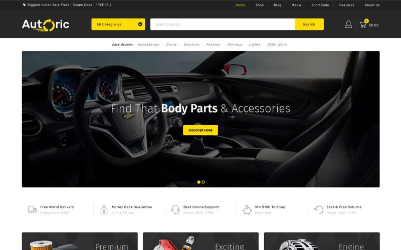 Autoric - Spare Parts Store WooCommerce Theme