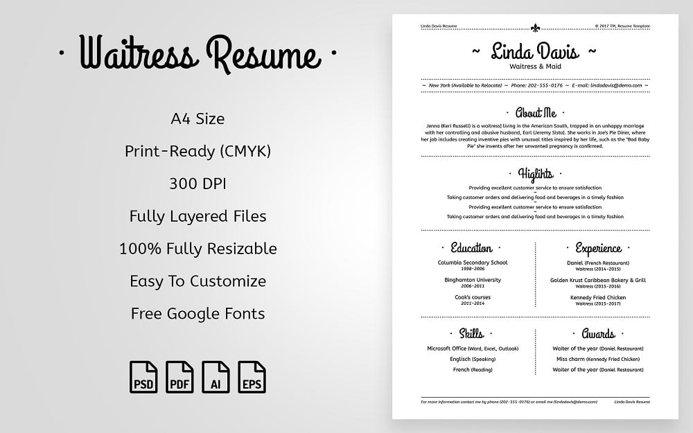 Linda Davis - Waitress & Maid Resume Template