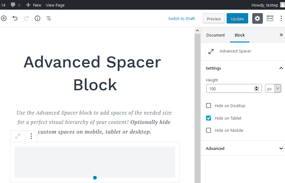 getwid advanced spacer block