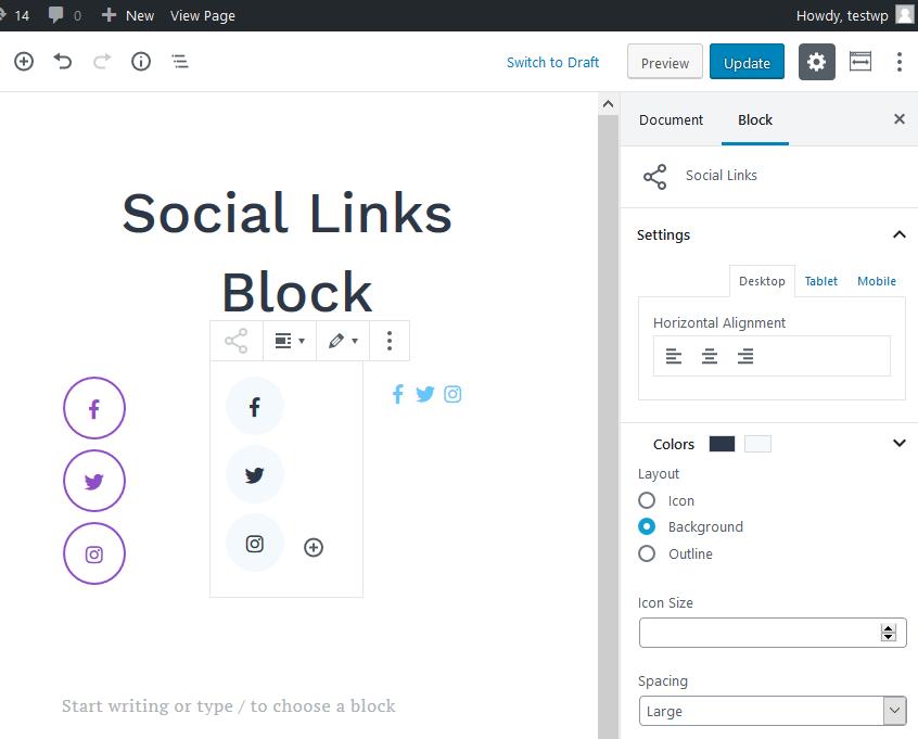 getwid social links block