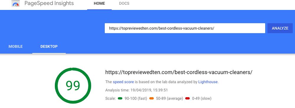 website speed test (After Gutenberg)