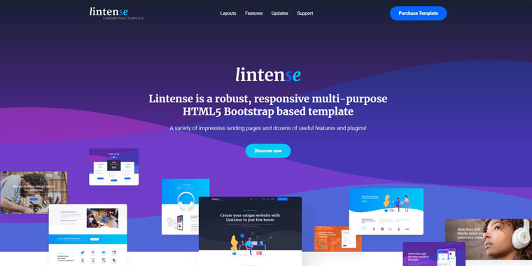 Lintense - All-in-one Landing Page Template.