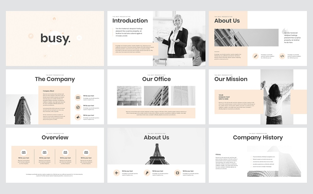 Busy Modern Clean Business Google Slides