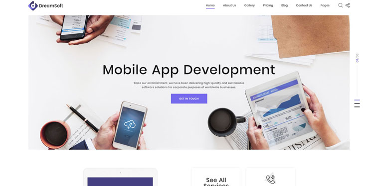 DreamSoft - Software Development Company Multipage Website Template.