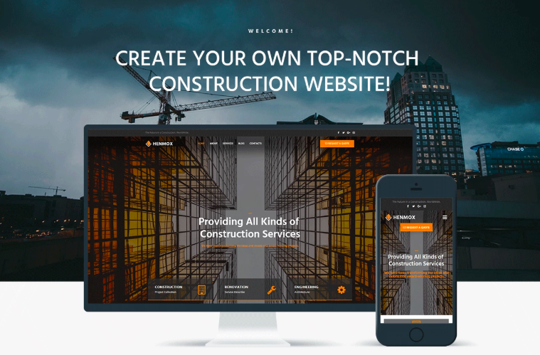 Henmox - Construction Multipurpose Modern Elementor WordPress Theme